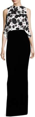 Monique Lhuillier Floral-Embellished Popover Column Gown, White/Black