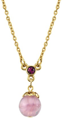 1928 Jewelry Gold Tone Light Amethyst Colored Bead Pendant Necklace