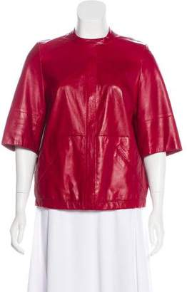 Akris Leather Short Sleeve Jacket
