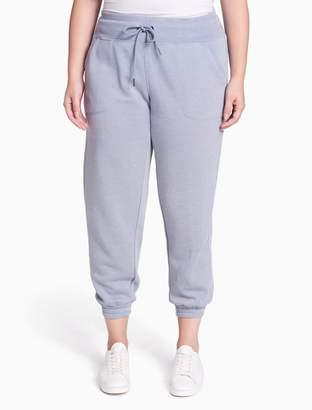 Calvin Klein plus size performance distressed fleece ankle joggers