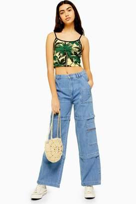 Topshop Womens Utility Indigo Combat Wide Leg Jeans - Indigo