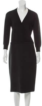 Dolce & Gabbana V-Neck Long Sleeve Dress Black V-Neck Long Sleeve Dress