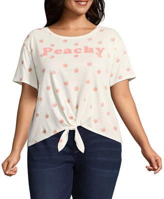 Fifth Sun Peachy Tie Front Tee - Juniors Plu