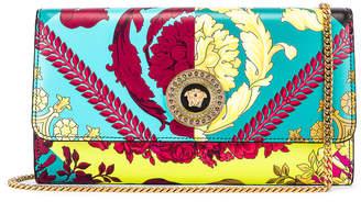 Versace Icon Flap Chain Wallet Bag in Black & Multicolor   FWRD