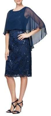 Alex Evenings Plus Cape Shift Dress