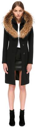 Mackage Mila Wool Coat With Fur Trim Hood