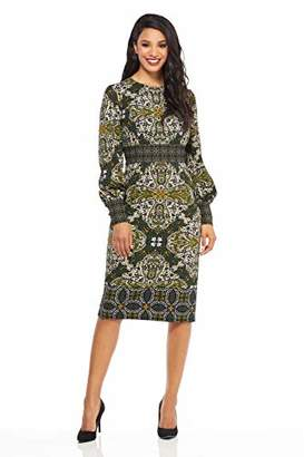 Maggy London Women's Printed Scuba Crepe Long Sleeve Sheath