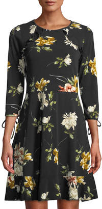 Dex Floral-Print Shoulder Ruffle A-Line Dress