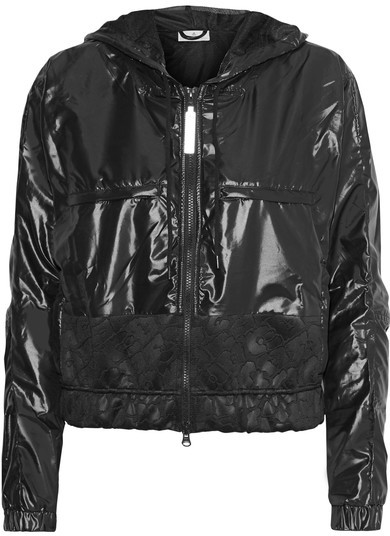 Adidas by Stella McCartney - Hooded Climastorm Glossed-shell Jacket - Black