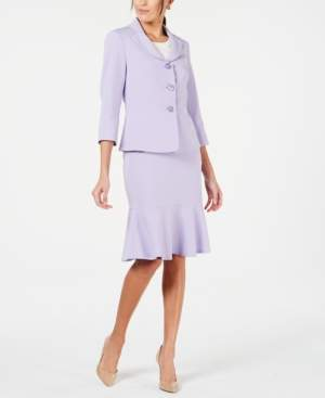 Le Suit Three-Button Flared-Hem Skirt Suit