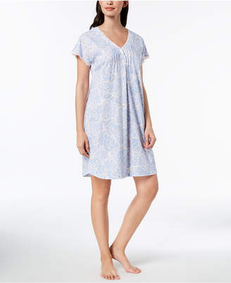 Miss Elaine Printed Knit Lace-Trim Short Nightgown