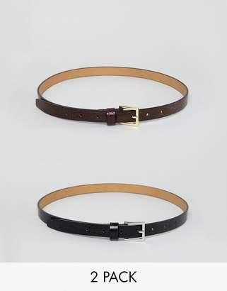2f7acd7ae1f Asos Design DESIGN 2 pack skinny waist faux croc jeans belts