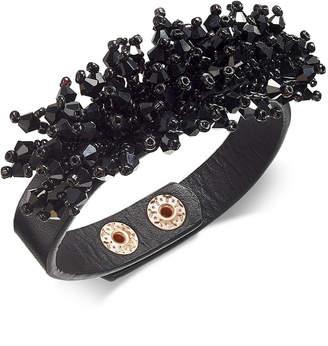 Thalia Sodi Tahlia Sodi Black-Tone Beads & Faux Leather Snap Bracelet