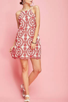 Entro Embroidered Halter-Shift Dress