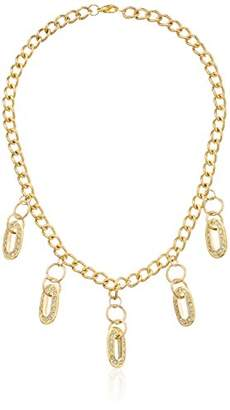 Tone Linked with Dangling Rhinestones Necklace