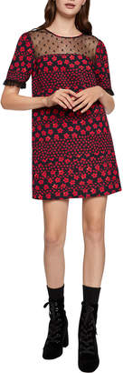 BCBGeneration Floral Print Lace Trim Shift Dress
