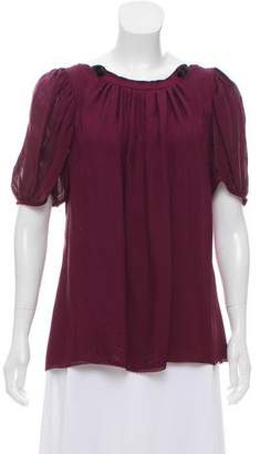 Zac Posen Lace-Trimmed Silk Top