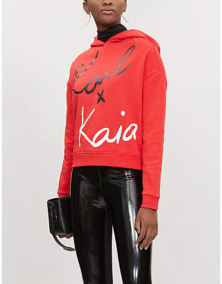 Karl Lagerfeld LARGERFELD x KAIA cropped cotton-jersey hoody