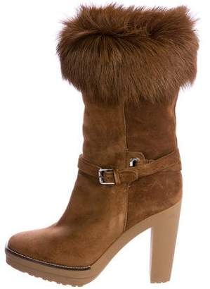 Ralph Lauren Fur-Trimmed Mid-Calf Boots