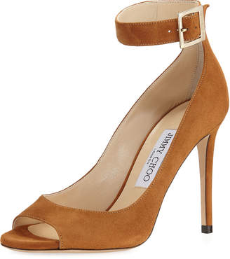 Jimmy Choo Henna Suede Ankle-Strap Sandals, Tan