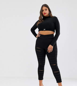 Asos DESIGN Curve pull on jegging in clean black with slash rip detail