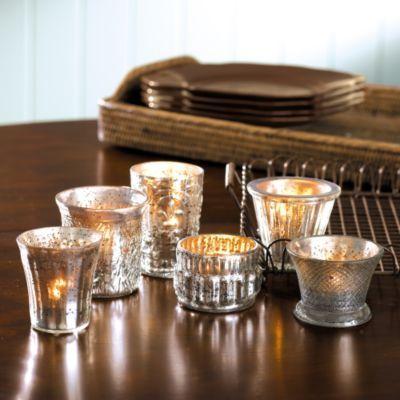 Antiqued Mercury Glass Votives -Assorted Set of Six