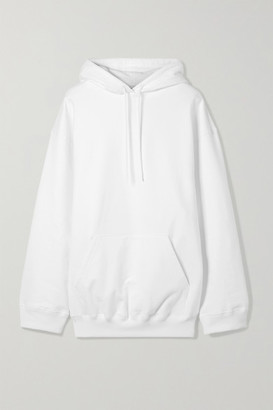 Balenciaga Oversized Printed Cotton Jersey Hoodie - White