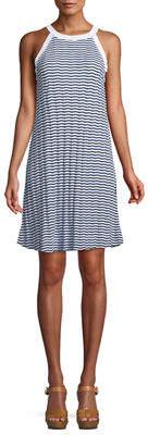 Three Dots Plus Chevron-Stripe Halter Dress