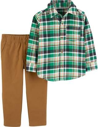 Carter's Baby Boy Plaid Button Down Shirt & Khaki Pants Set