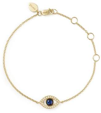 Meira T 14K Yellow Gold Sapphire and Diamond Evil Eye Bracelet