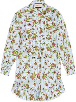 Gucci Floral bouquet striped cotton shirt