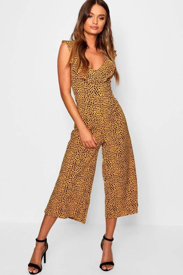 Leopard Print Bardot Ruffle Culotte Jumpsuit