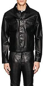 Tupac by 424 Men's Leather Oversized Trucker Jacket - Black