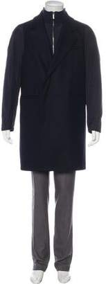 Emporio Armani Layered Wool-Blend Overcoat w/ Tags
