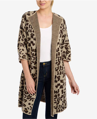 NY Collection Jacquard Animal-Print Cardigan