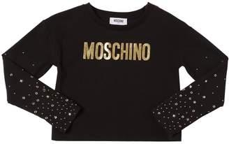 Moschino Studded Cotton Jersey T-Shirt