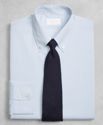 Brooks Brothers Golden Fleece Milano Slim-Fit Dress Shirt, Button-Down Collar Blue Micro-Stripe