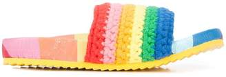 Mira Mikati crochet rainbow slider sandals