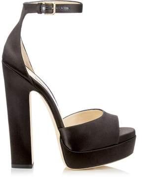 Jimmy Choo LIBERTY 150 Black Satin Open Toe Platform Sandals