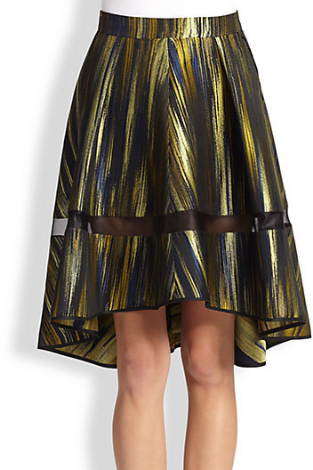 Ostwald Helgason Sheer-Trimmed Printed Flared Skirt