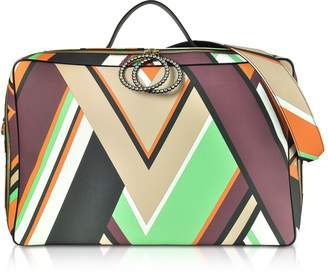 Emilio Pucci Mint Green and Burgundy Oversized Top-Handle Bag