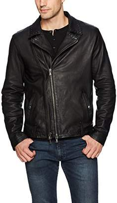 John Varvatos Men's Studded Collar Biker Jacket