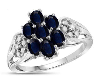 FINE JEWELRY Womens Diamond Accent Blue Sapphire Sterling Silver Cluster Ring