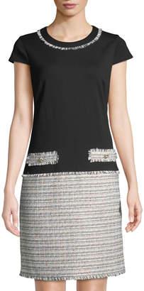 Karl Lagerfeld Paris Cap-Sleeve Tweed-Skirt Combo Dress