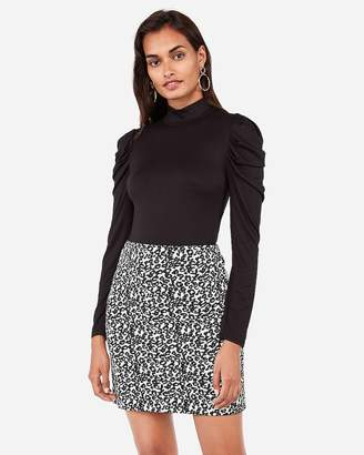 Express High Waisted Textured Leopard Mid-Thigh Skirt