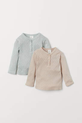 H&M 2-pack Pointelle Tops - Beige