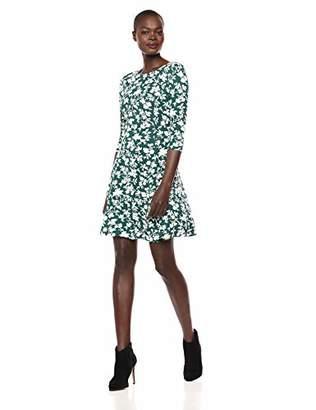 Lark & Ro Amazon Brand Women's Three Quarter Sleeve Knit Fit and Flare Dress