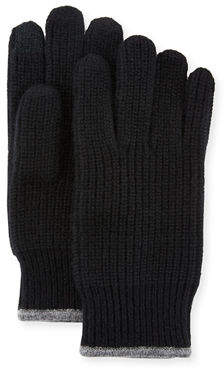 Neiman Marcus Ribbed Knit Gloves with Touch Tech Finger Pads