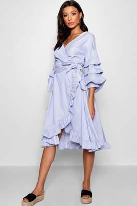 boohoo Michelle Rouched Sleeve Ruffle Wrap Midi Dress
