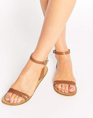 ASOS FLERY Leather Flat Sandals $26 thestylecure.com
